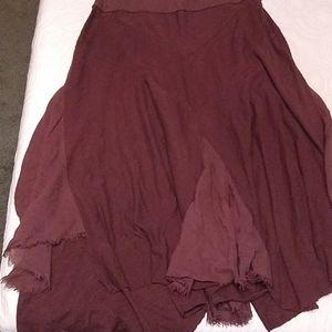 Brown asymmetric skirt